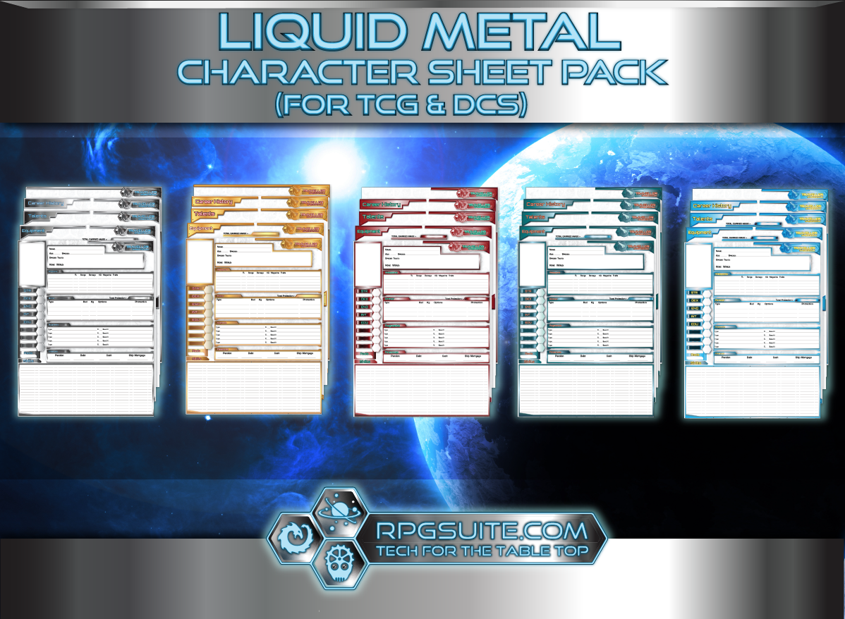 Liquid Metal Character Sheet Pack